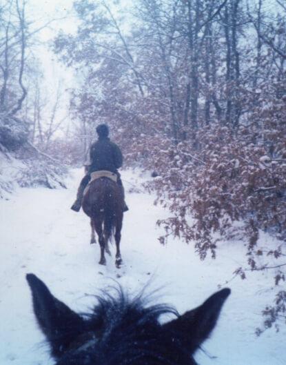paseo a caballo con nieve